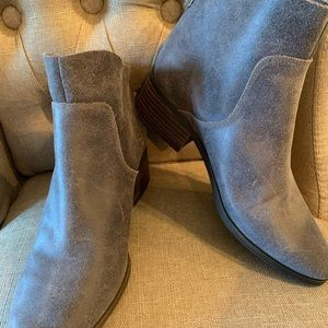 Lucky brand grey leather booties women's 7.5